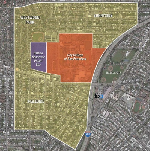 Area impacted by Balboa Reservoir Project. Image: sf-planning.org (Feb13 2017)