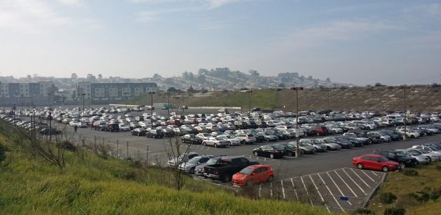 The western portion of the Balboa Reservoir, slated for development, which has been used as CCSF parking for decades. Photo courtesy SF Housing Action Coalition.