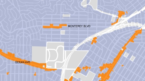 Portion of map from Urban Design Guidelines showing areas affected by new program. From SF Planning.