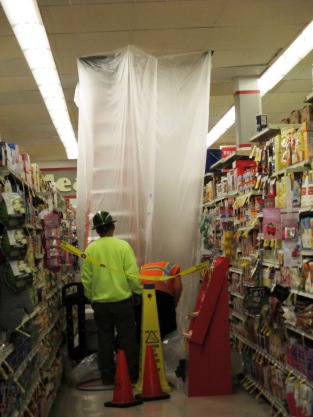 One of the leaking areas inside the Safeway store.
