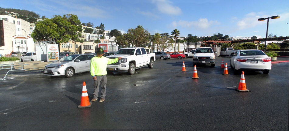 The area on the rooftop parking lot to be repaired today.