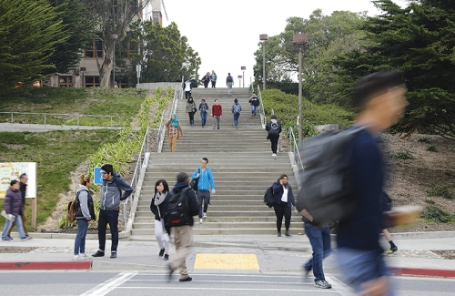 Students walk through City College of San Francisco's Ocean Campus on Wednesday, Feb. 1, 2017. (Steven Ho/Special to S.F. Examiner)