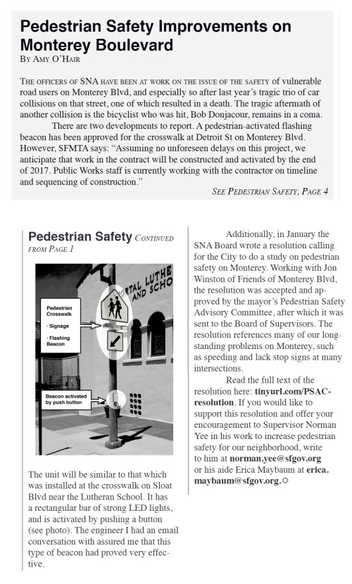 Ped Safety article, Sunnyside News, March 2017 vol. 18, No. 1