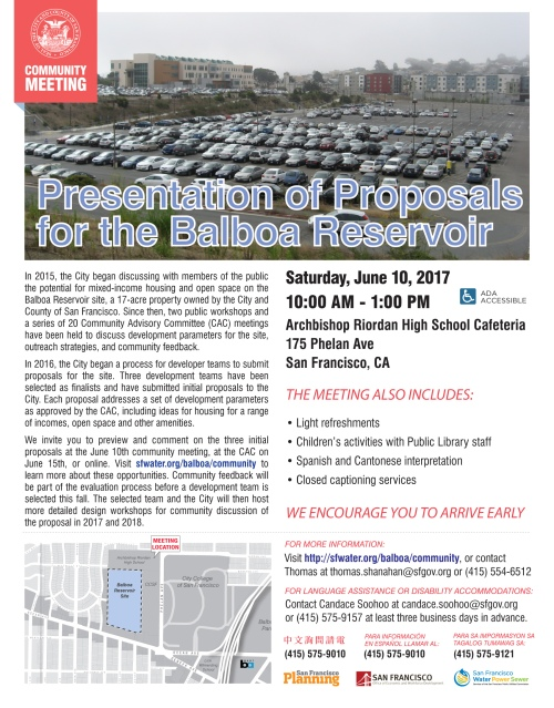 Balboa Reservoir Project poster, June 10, 2017 community meeting