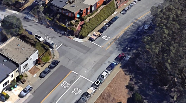 Intersection of Foerster and Judson, with no crosswalks. Pedestrians must step out between parked cars to cross. Google Satellite View.
