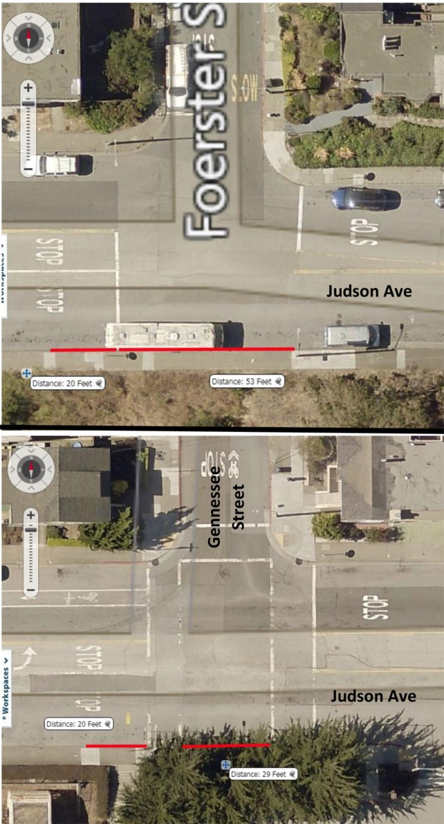 Diagram of red-curb areas at Judson/Foerster nd Judson/Gennessee. Courtesy SFMTA engineer Elizabeth Chen.