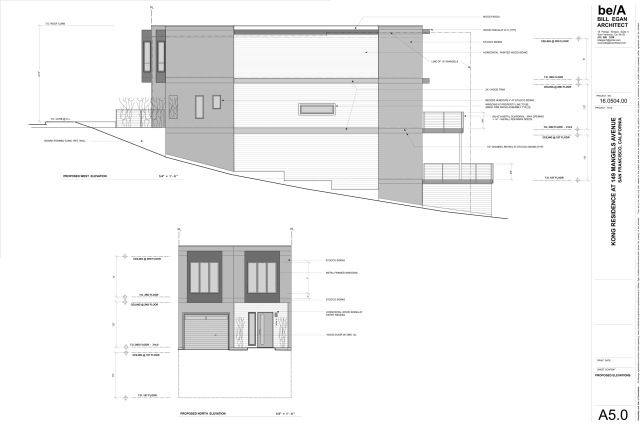 West elevation and front elevations for planned house at 149 Mangels Ave.