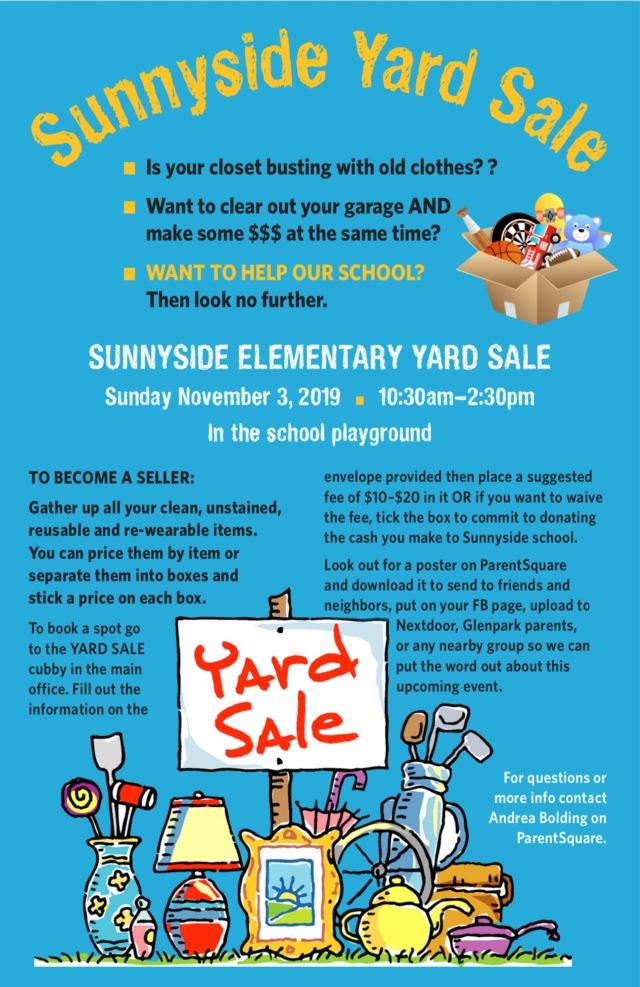 2019_11_03_Sunnyside_ES_Yard Sale Poster