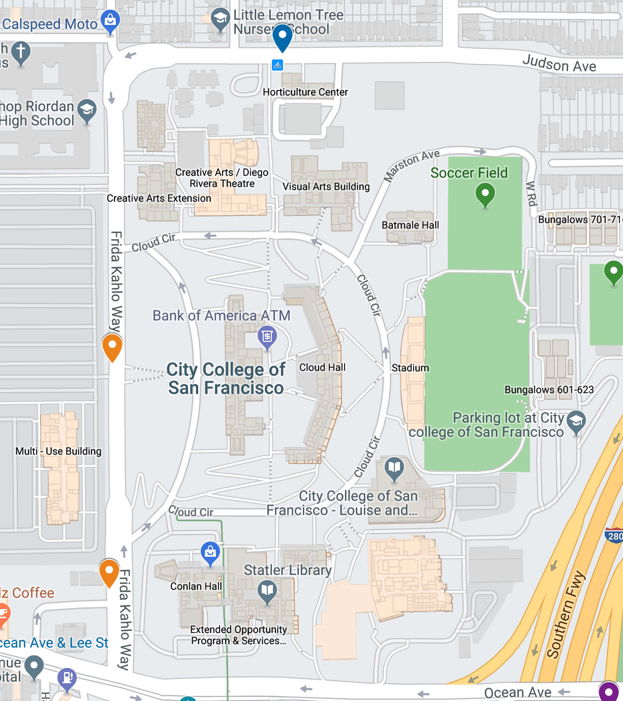 Map showing two proposed City College Bay Wheels bike share stations o Frida Kahlo Way. Meeting December 6th 2019. Courtesy Bay Wheels.