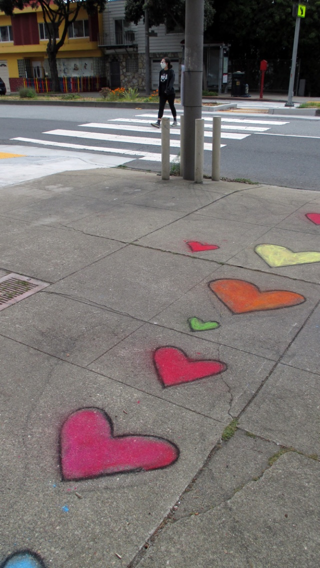 Chalked sidewalk arts by Amar Pai, Monterey and Detroit, April 2020.
