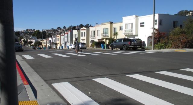 New crosswalk at Judson and Foerster, Dec 2020. Photo: Sunnyside Neighborhood Association