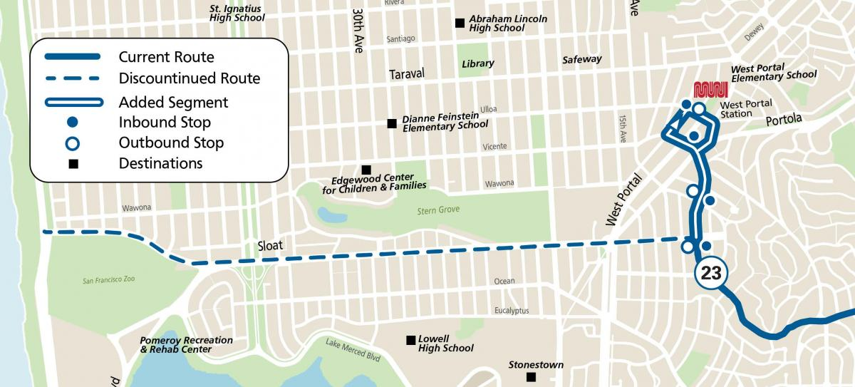 The 23-Monterey will no longer serve destinations west of St Francis, such as the San Francisco Zoo and Ocean Beach. https://www.sfmta.com/routes/23-monterey-shortened